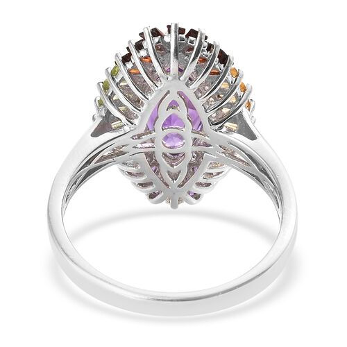 Amethyst (Mrq 3.50 Ct), Mozambique Garnet, Hebei Peridot, Citrine Ring in Platinum Overlay Sterling Silver 5.500 Ct. Silver wt 5.05 Gms.
