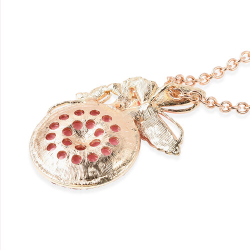 Pink Quartzite and Pink Magic Colour Austrian Crystal Enamelled Butterfly Pendant with Chain in Yellow Gold Tone 25.00 Ct.