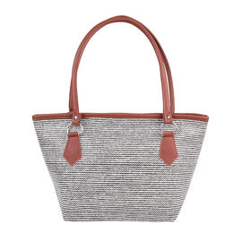 Black and Cream Wave Stripe Pattern Tote Bag (Size 42x16x25cm)