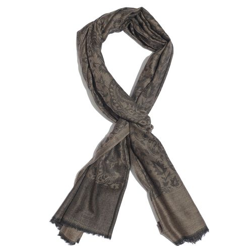 Limited Available - 88% Merino Wool and 12% Silk Chocolate, Black and Multi Colour Shawl with Fringes (Size 180x70 Cm)