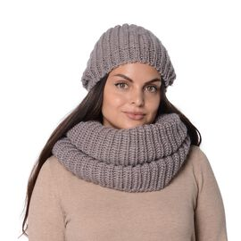 2 Piece Set - Winter Knitted Hat (Size 14.5x25 Cm) and Scarf (Size 63x29 Cm) - Dark Grey