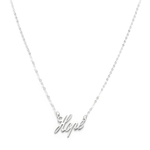 Viale Argento Sterling Silver HOPE Necklace (Size 18)