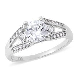 J Francis -  Rhodium Overlay Sterling Silver (Rnd) Ring Made with SWAROVSKI ZIRCONIA 1.58 Ct.