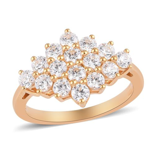 J Francis - 14K Gold Overlay Sterling Silver Cluster Ring Made with SWAROVSKI ZIRCONIA 2.50  Ct.