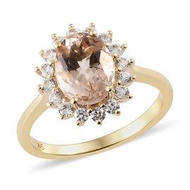 9K Yellow Gold AA Maroppino Morganite (Ovl 1.50 Ct), Natural Cambodian Zircon Ring (Size R) 2.000 Ct.