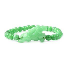 149 Carat Carved Green Jade Elephant Stretchable Beaded Bracelet 7 Inch