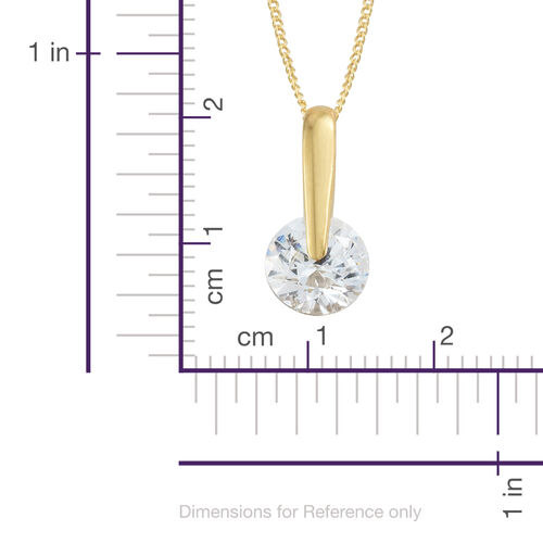 J Francis - 14K Gold Overlay Sterling Silver (Rnd 8MM) Solitaire Pendant With Chain Made with SWAROVSKI ZIRCONIA