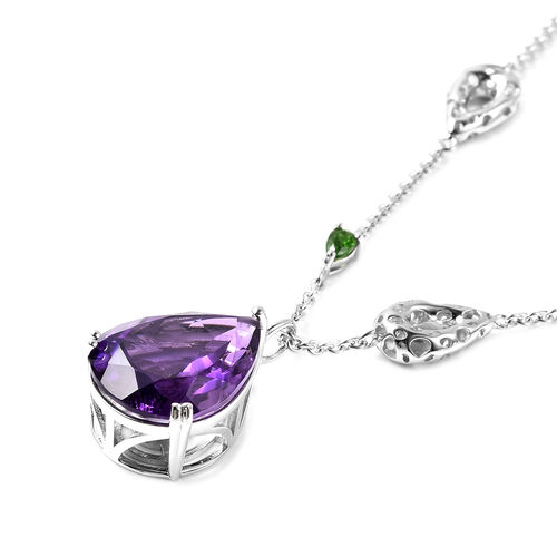 RACHEL GALLEY Lusaka Amethyst and Russian Diopside Necklace (Size 40) in Rhodium Overlay Sterling Silver 16.60 Ct, Silver wt. 30.52 Gms