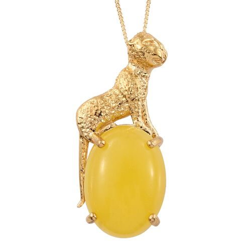Vintage Inspired - Yellow Jade (Ovl) Wild Life Inspired Pendant with Chain in 14K Gold Overlay Sterling Silver 14.000 Ct.