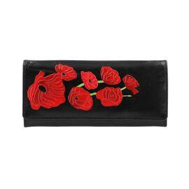 SUKRITI 100% Genuine Leather Poppy RFID Wallet (Size 21.59x11.43cm) - Black