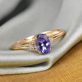9K Yellow Gold AA Tanzanite and White Diamond Ring 0.95 Ct.