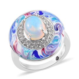 GP Ethiopian Welo Opal (Ovl), Natural Cambodian Zircon and Blue Sapphire Enamelled Ring in Platinum