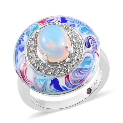 GP 1.61 Ct Ethiopian Welo Opal and Multi Gemstone Halo Ring in Platinum Plated Silver