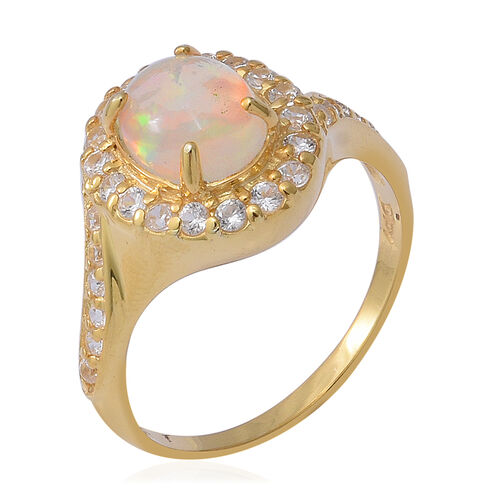 Ethiopian Welo Opal (Ovl 9x7 mm), Natural Cambodian White Zircon Ring in Yellow Gold Overlay Sterling Silver 2.040 Ct.