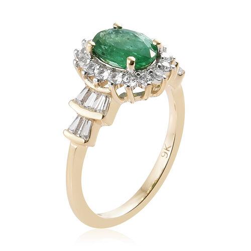 9K Yellow Gold AA Kagem Zambian Emerald (Ovl), Natural Cambodian Zircon Ring 2.000 Ct.