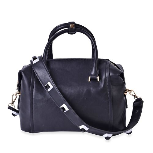 Mayfair Dazzling Black Carryall Bag with Removable Geometric Studs Shoulder Strap (Size 29x21.5x11 Cm)