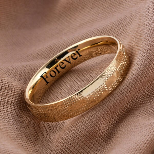 Personalised 9k Yellow Gold 4.5MM Textured Band Ring