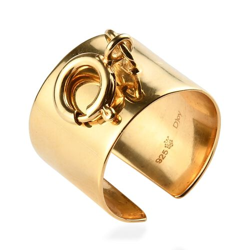 Sundays Child - Yellow Gold Vermeil Sterling Silver Open Band Ring, Silver wt. 5.69 Gms
