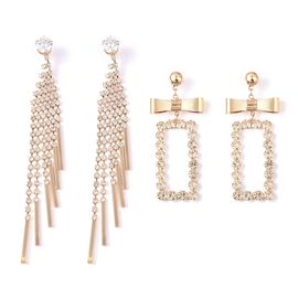 Set of 2 - White Austrian Crystal (Rnd), Simulated Diamond Earrings (with Push Back) in Gold Tone