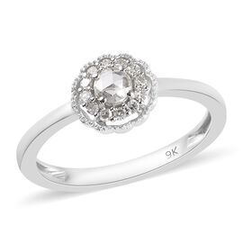 9K White Gold Natural Diamond (Rnd) Ring 0.20 Ct.