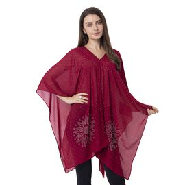 Wine Colour Floral Pattern Crystal Embellished Poncho Size 80.01x99.06 Cm