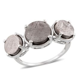 Meteorite (Rnd 7.75 Ct) 3 Stone Ring in Platinum Overlay Sterling Silver 17.250 Ct.