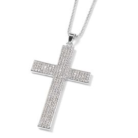 White Austrian Crystal (Rnd) Cross Pendant with Chain (Size 28 and 2 inch Extender) in Silver Tone