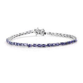 7 Carat Tanzanite Tennis Bracelet in Platinum Plated Sterling Silver 8 Grams 8 Inch