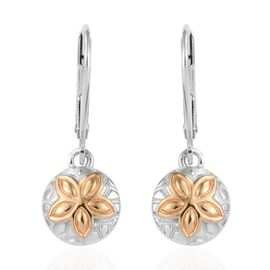 Sand Dollar Lever Back Earrings in Platinum and Gold Plated Sterling Silver