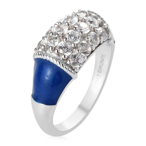 Sundays Child -Natural Cambodian Zircon Enamelled Ring in Platinum Overlay Sterling Silver 1.75 Ct