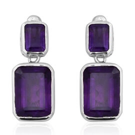 Zambian Amethyst (Oct) Earrings (with Push Back) in Rhodium Overlay Sterling Silver 16.480  Ct.