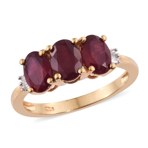 African Ruby (Ovl), Diamond Ring in 14K Gold Overlay Sterling Silver 3.250 Ct.