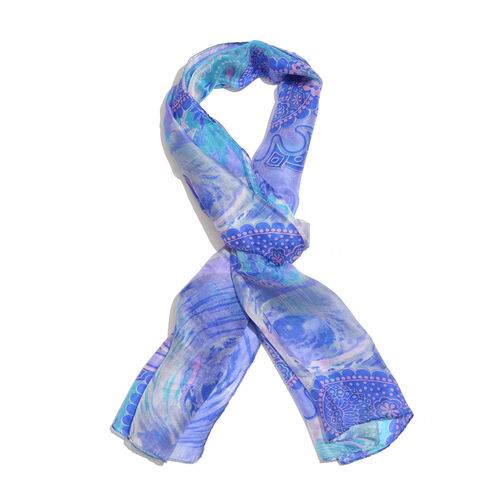 100% Mulberry Silk Blue and White Colour Suzani Printed Stole (Size 180x50 Cm)