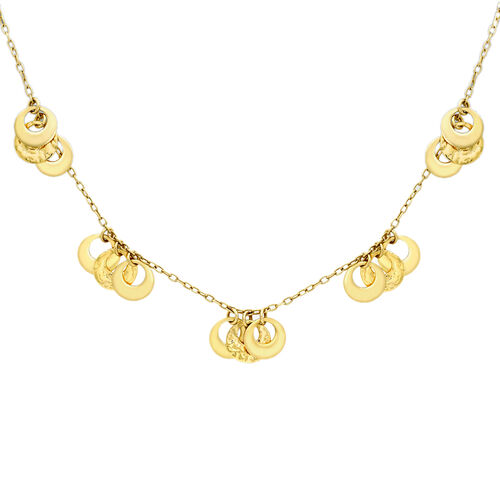 Vicenza Collection - Designer Inspired 9K Y Gold Hammered Rings Necklace (Size 17), Gold wt 6.54 Gms.