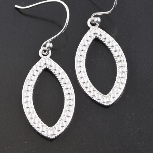 Vicenza Collection Designer Inspired Rhodium Plated Sterling Silver Hook Earrings, Silver wt 5.40 Gms.