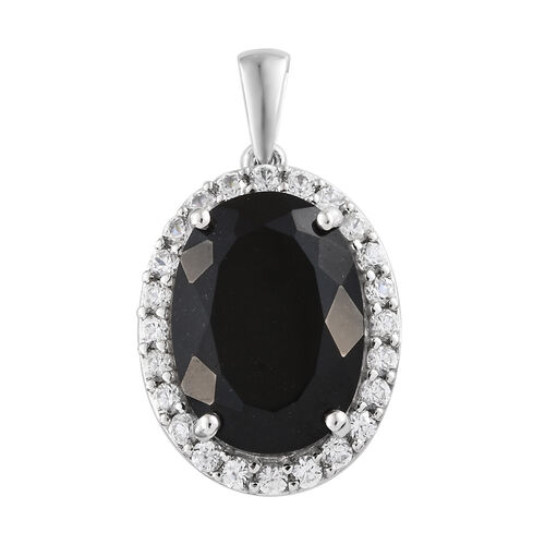 Black Tourmaline (Ovl 11.00 Ct), Natural Cambodian Zircon Pendant in Platinum Overlay Sterling Silver 12.750 Ct.