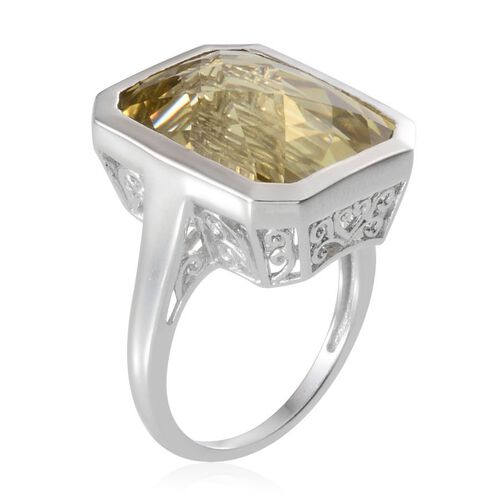Brazilian Green Gold Quartz (Oct) Solitaire Ring in Platinum Overlay Sterling Silver 17.500 Ct.