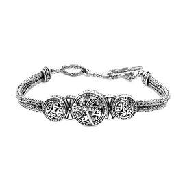 Royal Bali Collection - Sterling Silver Dragonfly Tulang Naga Bracelet (Size 7.5 with Extender), Sil