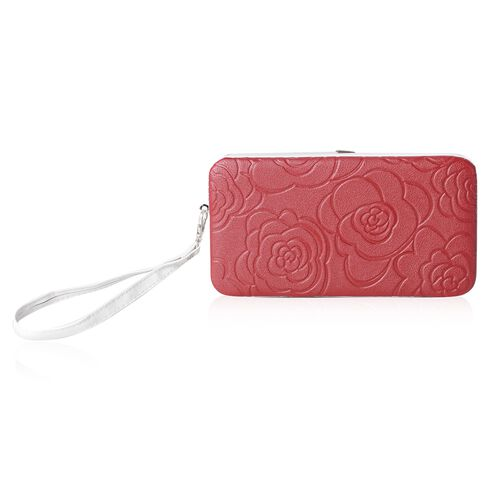 Limited Flower Embossed Pattern Red RFID Clutch Wallet with Slot for Large Phone and Card and Cash (