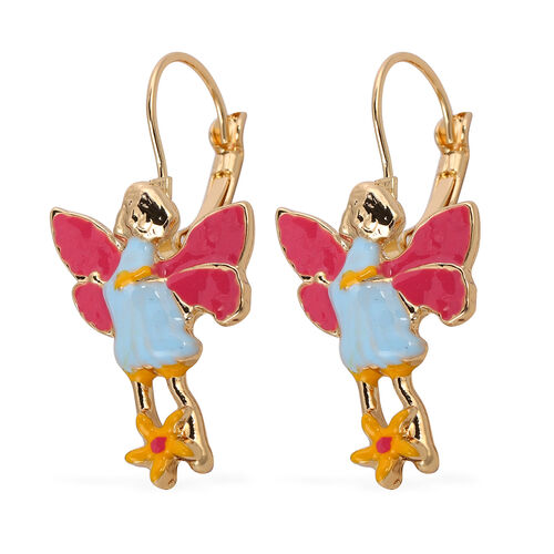Lever Back Enamelled Fairy Theme Earrings in Gold Tone