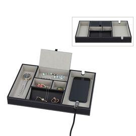 Mens 6 Section Portable Jewellery Organiser (Size 35x24x4Cm) - Black