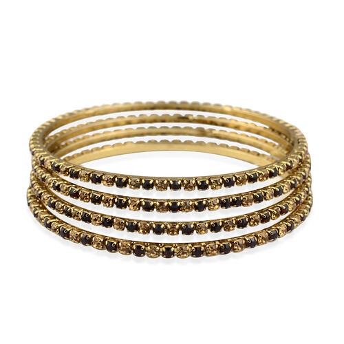 4 Piece Set - Gold and Maroon Austrian Crystal Bangle (Size 7.5) in Gold Tone