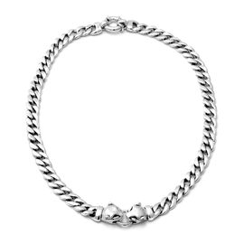 Curb Chain Panther Head Necklace in Rhodium Plated Sterling Silver 52.09 Grams