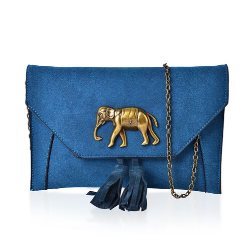 Turquoise Colour Elephant Clutch Bag with Tassels and Chain Strap (Size 24x16 Cm)