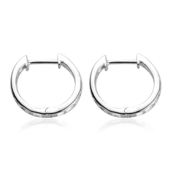J Francis - Sterling Silver Hoop Earrings Made with SWAROVSKI ZIRCONIA