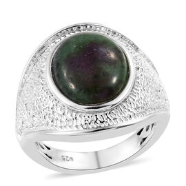 Ruby Zoisite (Ovl 12x10 mm) Ring in Platinum Overlay Sterling Silver 6.50 Ct, Silver wt 6.50 Gms