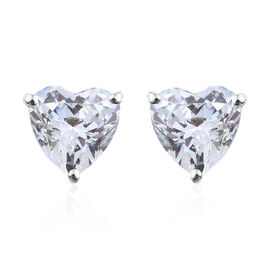 J Francis - 9K White Gold (Hrt 8 mm) Heart Stud Earrings (with Push Back) Made with SWAROVSKI ZIRCONIA