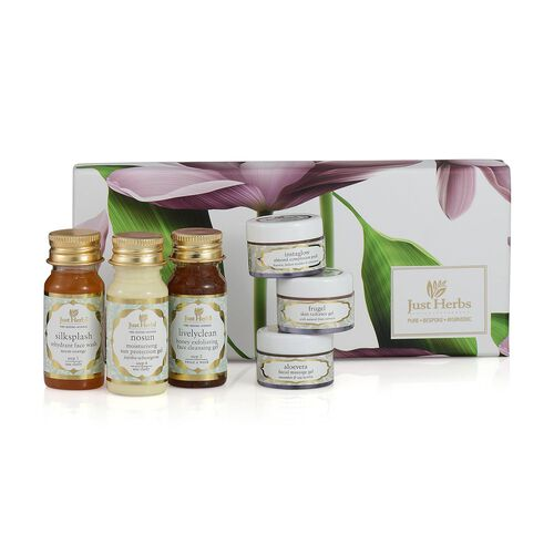 Just Herbs Silk Splash Face Wash (35ml), Livelyclean Cleansing Gel (35ml), Nosun Protection Gel (35 g), Facial Massage Gel (15g), Skin Radiance Gel (15g) and Instaglow Complexion Pack (15g)