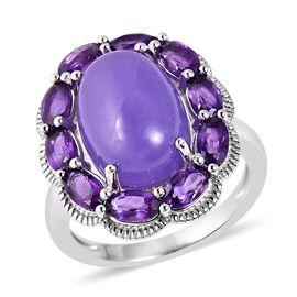 Purple Jade (Ovl 7.50 Ct), Amethyst Ring in Rhodium Overlay Sterling Silver 9.50 Ct, Silver wt 5.39