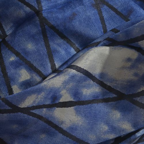 100% Mulberry Silk Indigo, Black and White Colour Handscreen Grid Printed Scarf (Size 200X180 Cm)